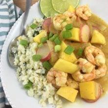 Mango Shrimp and Cilantro-Lime Cauliflower Rice
