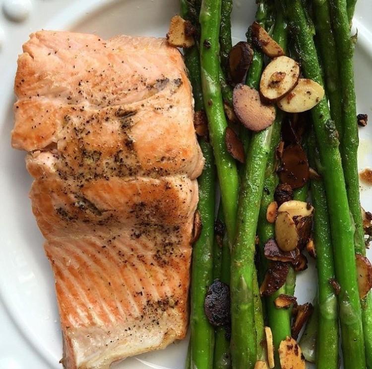 Salmon and Garlic Almond Asparagus