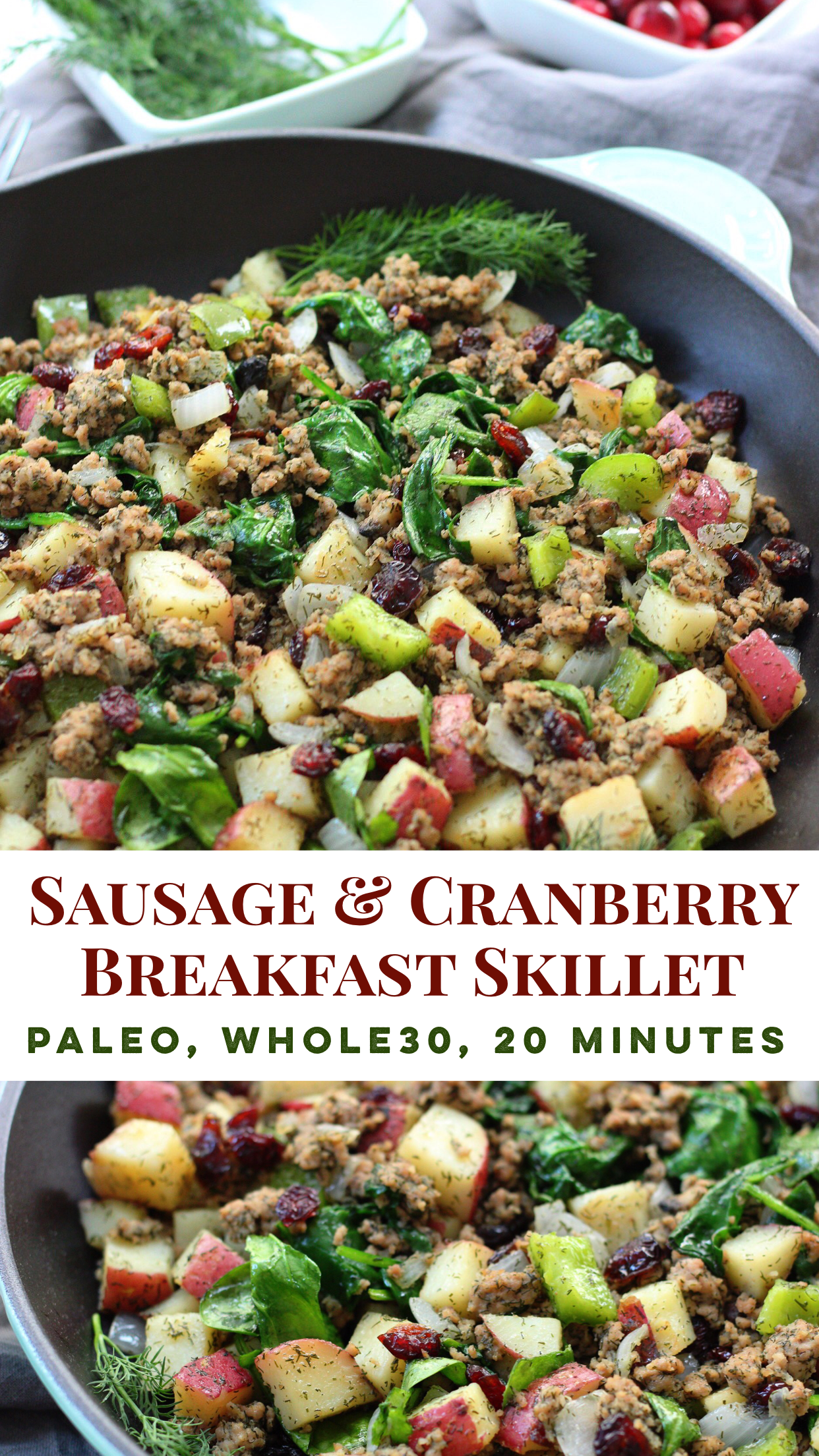 whole30 egg free sausage breakfast skillet