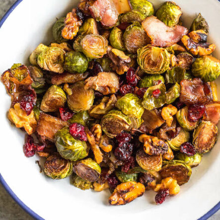 Roasted Balsamic Brussels Sprouts with Bacon: Whole30, Paleo, GF
