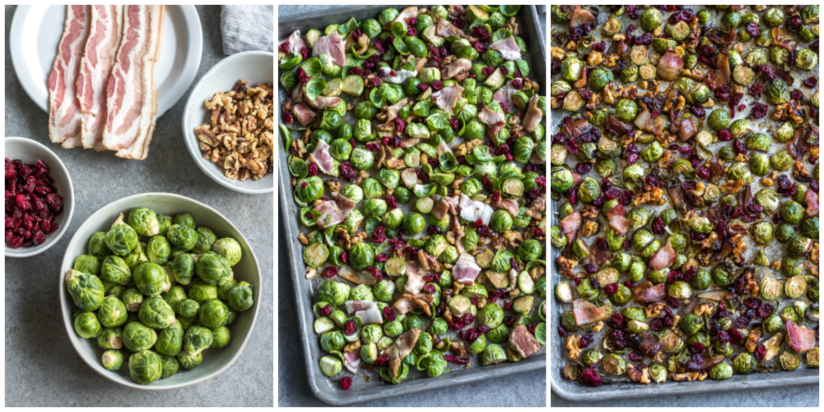 Whole30 roasted brussels sprouts cooking process