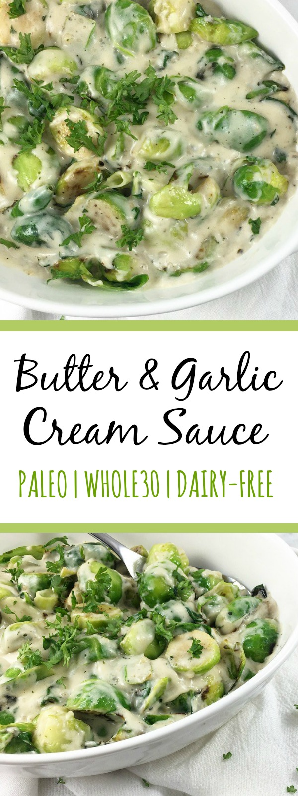 This dairy free cream sauce has the best butter and garlic flavor for a variety of uses. It's a Whole30 sauce that can be used in paleo