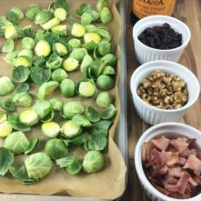 Roasted Brussels Sprouts: Bacon, Cranberries and Walnuts