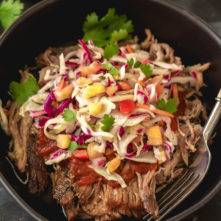 Slow Cooker Pulled Pork with Pineapple Coleslaw (Whole30, Paleo, GF)