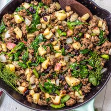 Whole30 Egg Free Sausage Breakfast Skillet with Cranberries