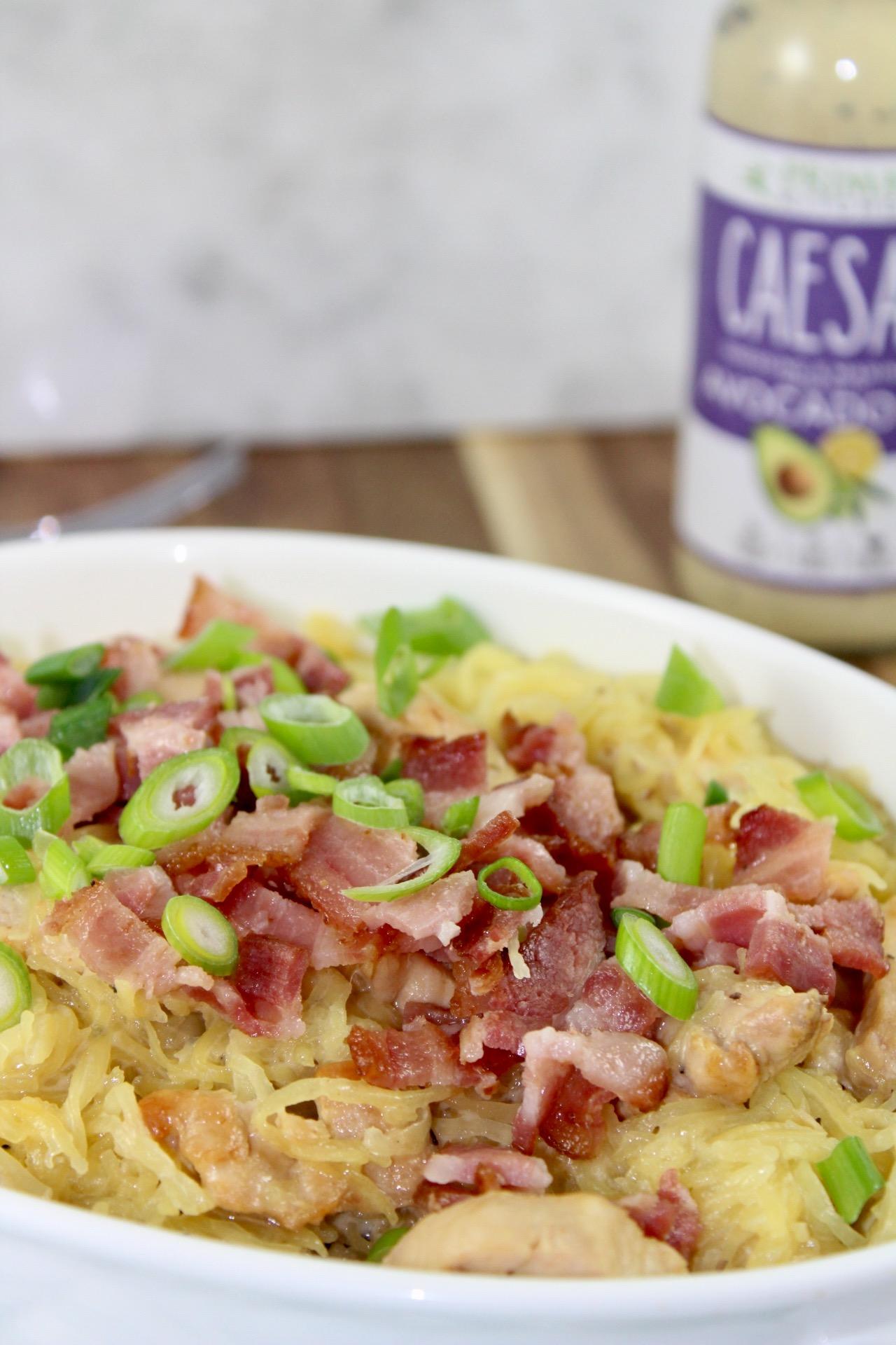 Chicken and Bacon Caesar Spaghetti Squash Pasta