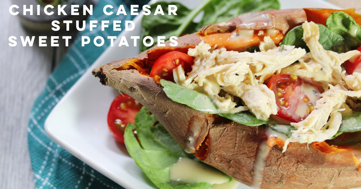 chicken caesar stuffed sweet potatoes