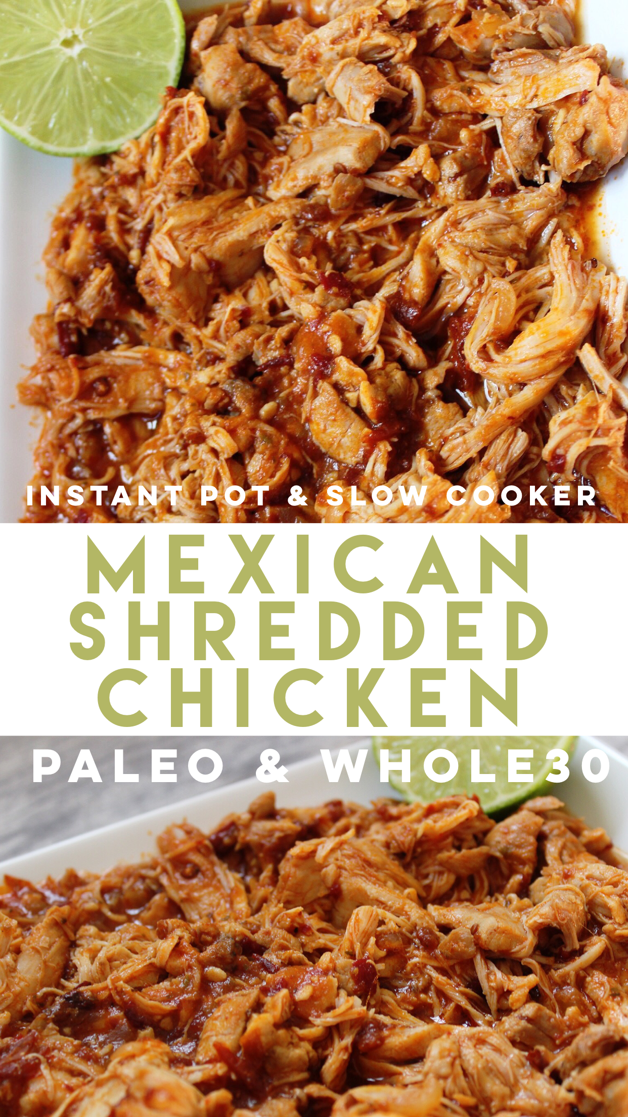 instant pot Mexican shredded chicken is a family friendly recipe that's only made with a few simple ingredients. It's perfect for a Paleo chicken dinner, or Whole30 meal prep! #paleochicken #paleoinstantpot #whole30instantpot #whole30chicken #lowcarbchicken via @paleobailey
