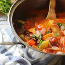 Chorizo and Veggie Stew: 30 Minute Meal with Slow Cooker Instructions