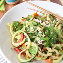 "Paleo Pad Thai Noodle Salad with Almond ""Peanut"" Sauce"