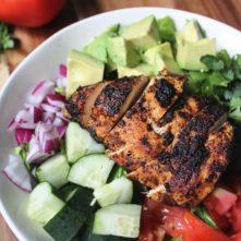 Blackened Chicken, Cucumber and Avocado Chopped Salad
