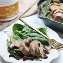 Pork Tenderloin with Rosemary Mushroom Gravy: a 30 Minute Savory Paleo Dinner