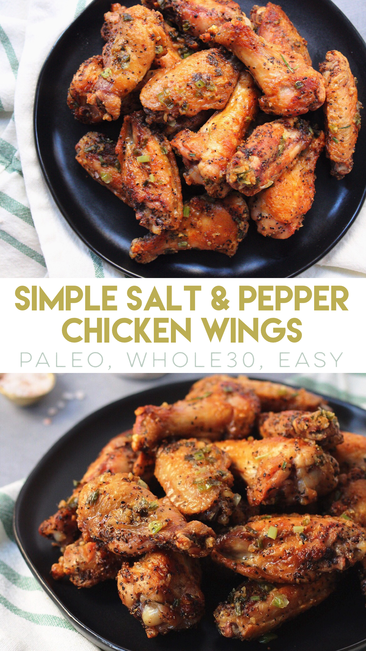 Simple Paleo Salt and Pepper Chicken Wings are easy to make, low carb only use a few ingredients, and are the perfect game day healthy wing recipe, or Whole30 chicken wing option! #paleochickenwings #paleo #whole30recipes #lowcarbchicken via @paleobailey