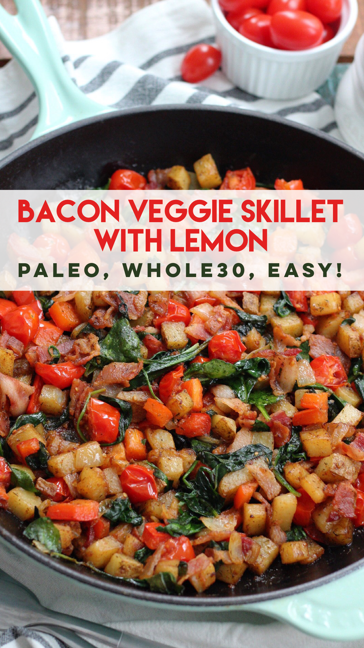 Bacon and Veggie Egg-Free Paleo Breakfast Skillet: Paleo, Whole30, Easy Meal Prep. Perfect egg free breakfast if you can't stand to look at another egg on your Whole30. It's a family friendly breakfast recipe that takes less than 20 minutes! #whole30breakfast #eggfreebreakfast #paleobreakfast via @paleobailey
