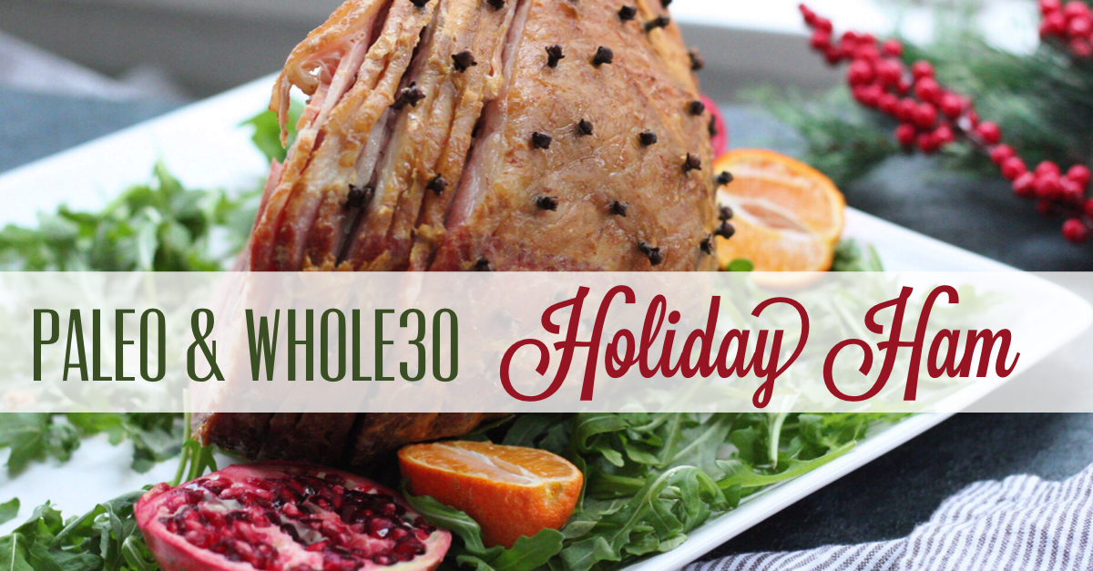 Three ingredient Whole30 holiday ham is a family friendly recipe everyone will enjoy. Made with a sugar free ham, this clean eating recipe will be a hit. With a simple recipe, it's quick and easy so you get in and out of the kitchen! #holidayham #paleoham #whole30ham #paleoholidayrecipes