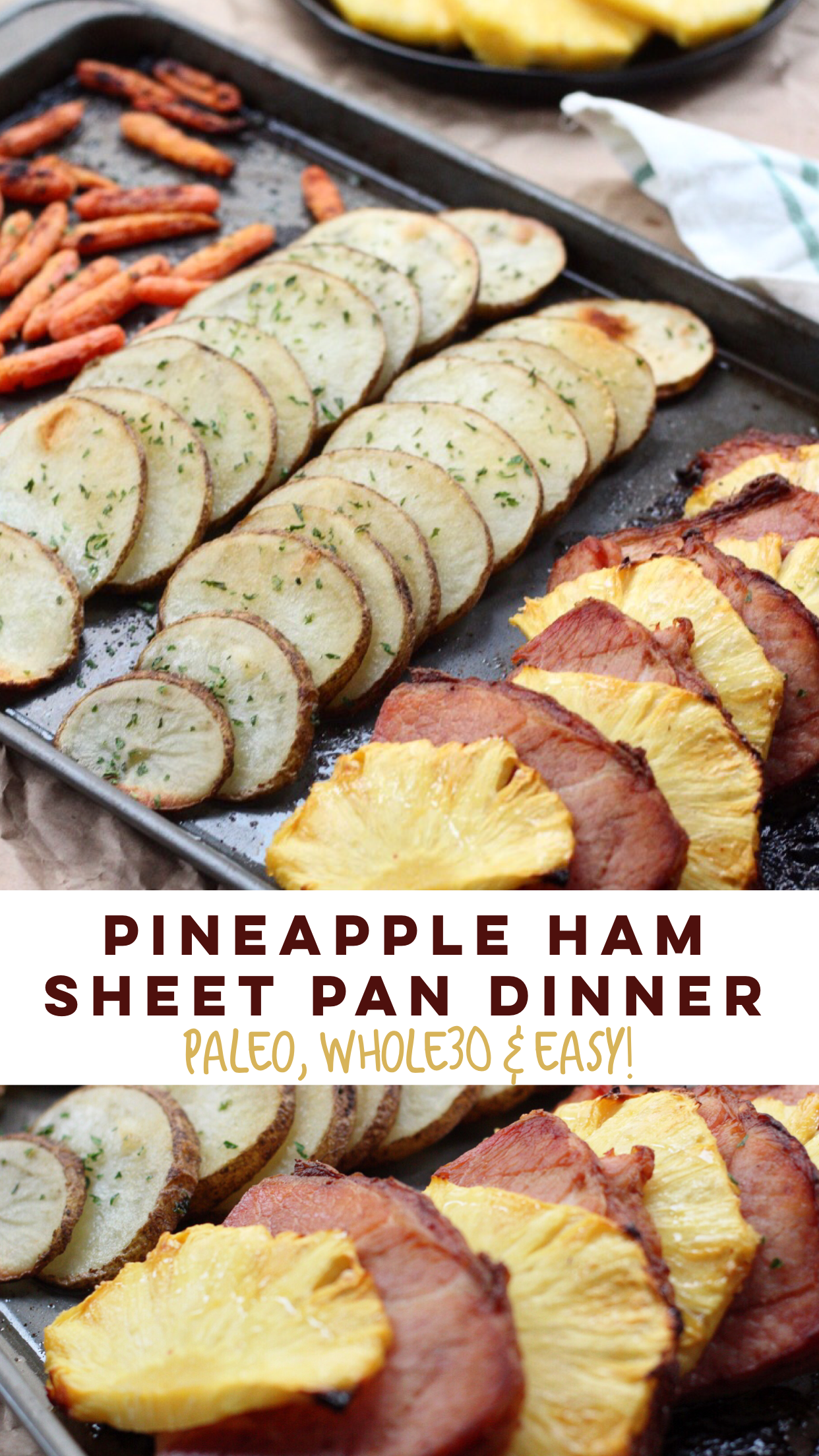 Simple and healthy pineapple ham Whole30 sheet pan dinner! This easy Paleo sheet pan meal is family friendly, and Whole30 when made sugar free ham. It's a great holiday leftover meal or an easy meal prep idea #sheetpan #hamrecipes #paleosheetpan #whole30sheetpan via @paleobailey