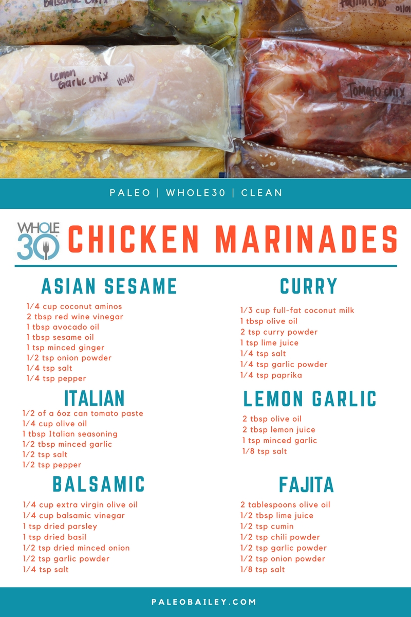 6 Whole30 Compliant DIY Freezer Chicken Marinades #whole30 #whole30chicken #paleochicken