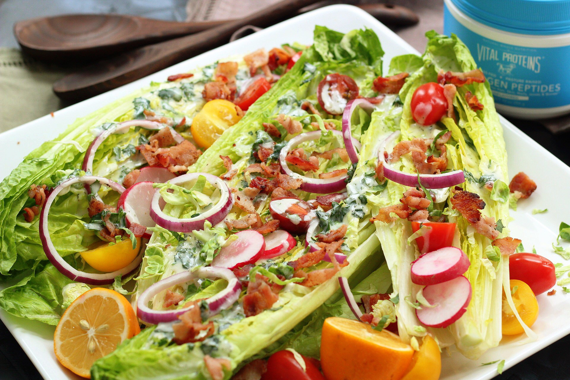 romaine wedge salad with creamy herb dressing