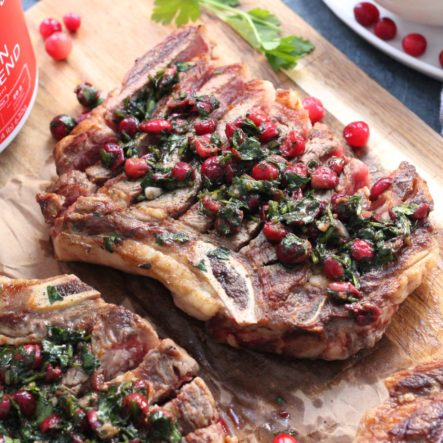 Grilled Steak and Cranberry Chimichurri