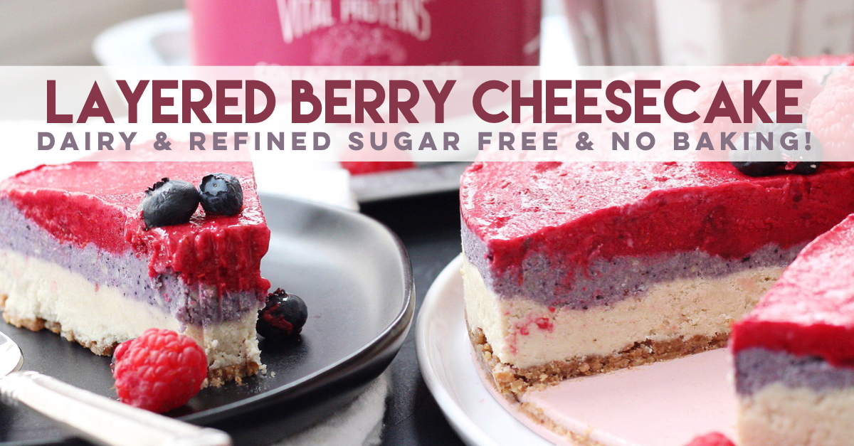Easy paleo cheesecake is a fun recipe to make for any special occasion or just for dessert! With colorful dairy free cheesecake layers and a simple no bake crust, you'll feel like you're indulging when you're eating totally healthy! #paleocheesecake #dairyfreecheesecake #nobakecheesecake #vegancheesecake