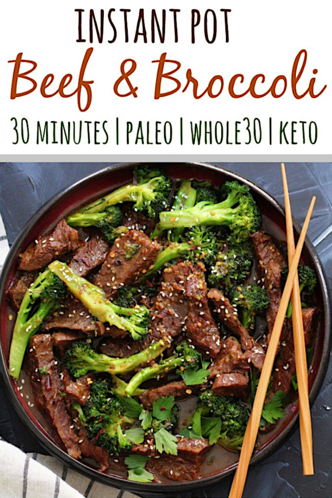 Whole30 Instant Pot Beef and Broccoli is a simple 30 minute meal that's family friendly and on the table in just a few minutes! It's a delicious paleo beef recipe for a busy weeknight or great for Whole30 meal prep #whole30beef #paleobeef #whole30instantpot #lowcarbinstantpot via @paleobailey