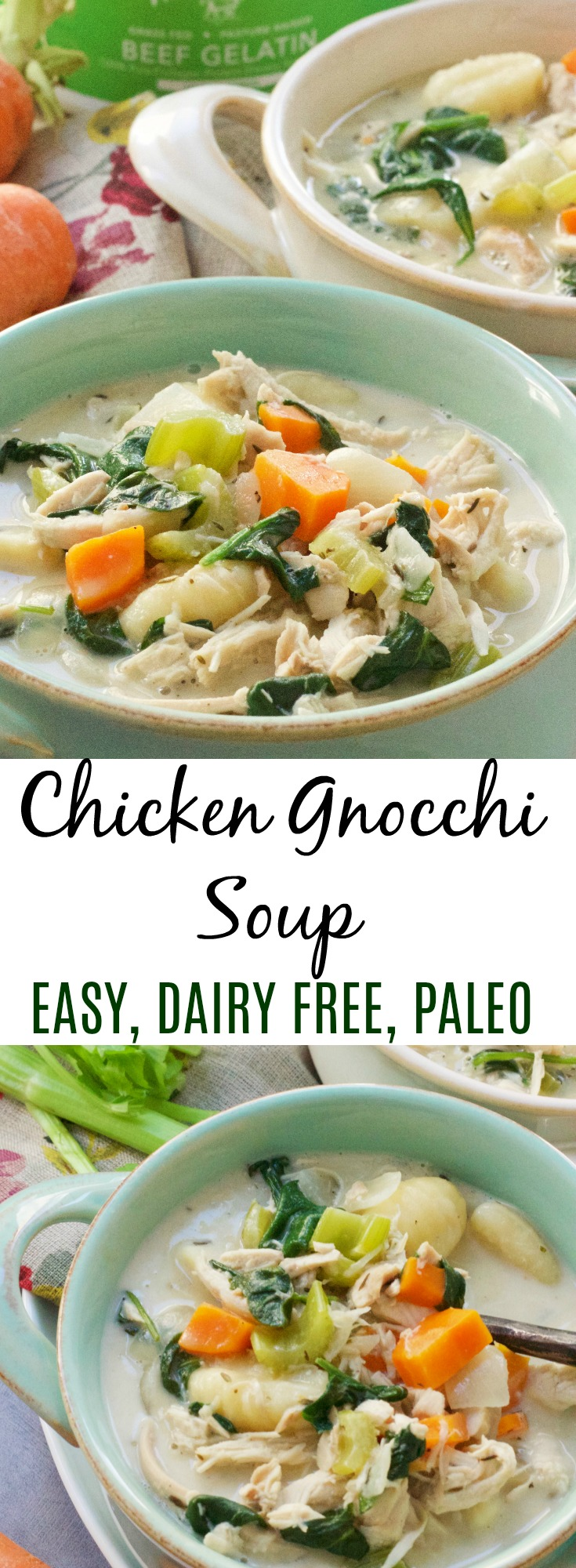 Easy One Pot Chicken Gnocchi Soup is Quick and Paleo! A healthy version of a restaurant staple! #paleo #chickensoup #gnocchi #paleosoup