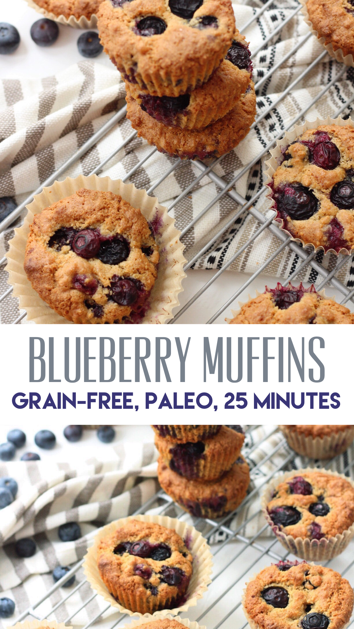 Paleo blueberry muffins that are grain free, easy to make, and only need a few simple ingredients! These are healthier family friendly baking recipe that you'll be sure to make again and again! #paleomuffin #paleoblueberrymuffin #grainfreemuffin