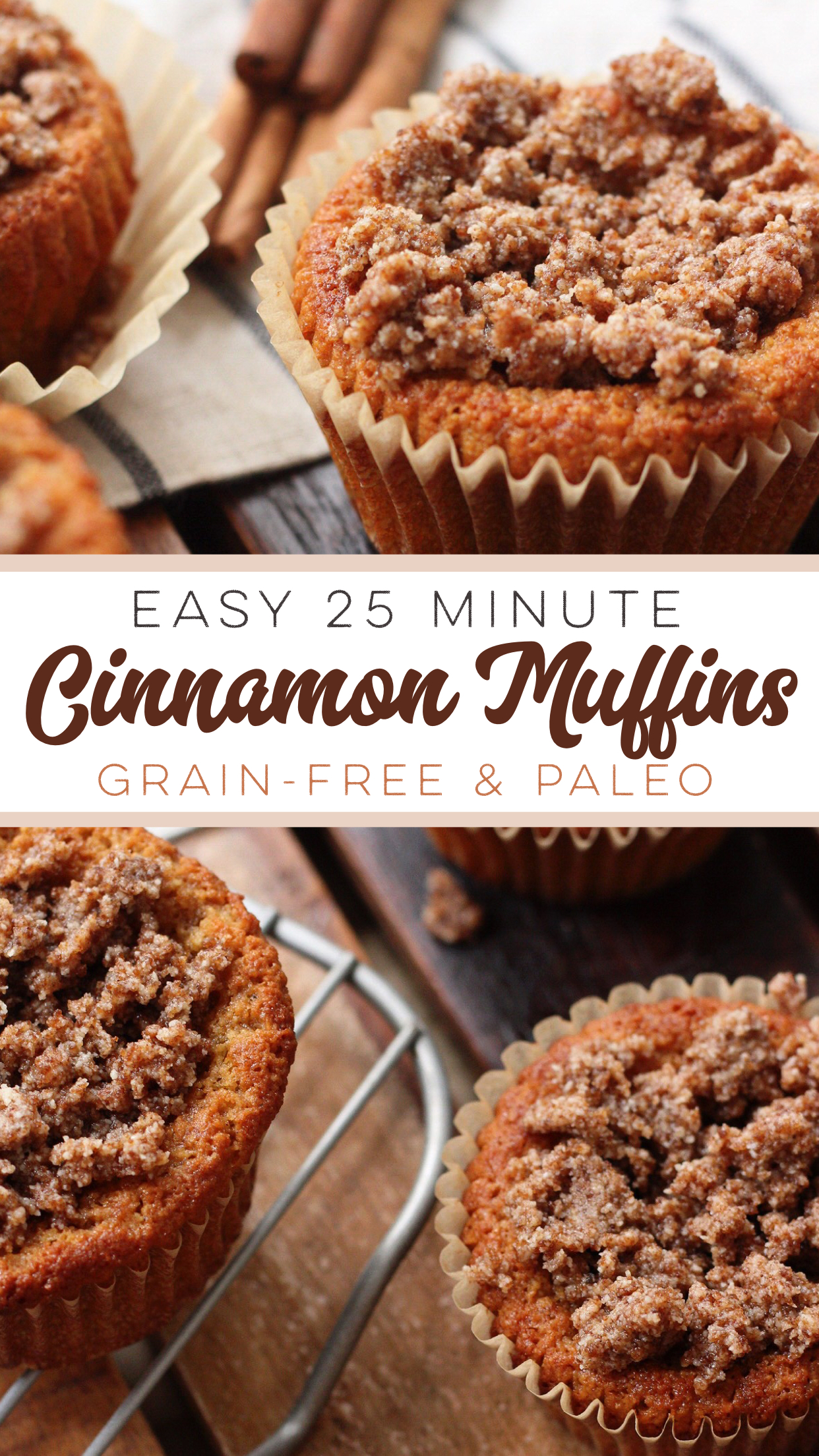 These grain free and Paleo Cinnamon Muffins are a 25 minute, delicious, family friendly recipe. This easy paleo cinnamon muffins recipe make it easy to make healthier choices, because they're so dang good! #paleomuffins #paleocinnamonmuffins #grainfreemuffins #paleomuffinrecipes
