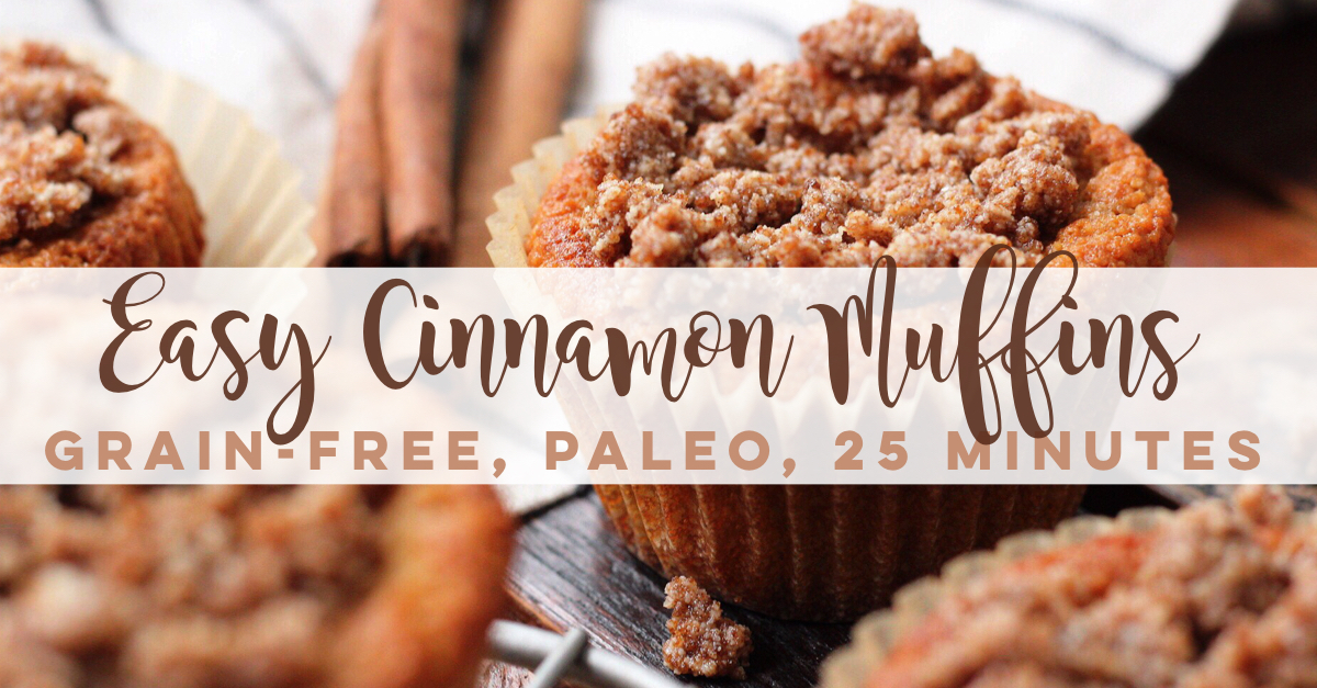 These grain free Paleo Cinnamon Muffins are a 25 minute, delicious, family friendly recipe. This easy paleo cinnamon muffin recipe makes it easy to make healthier choices, because they're so dang good! #grainfreecinnamonmuffins #paleomuffins #paleocinnamonmuffins #grainfreemuffins #paleomuffinrecipes