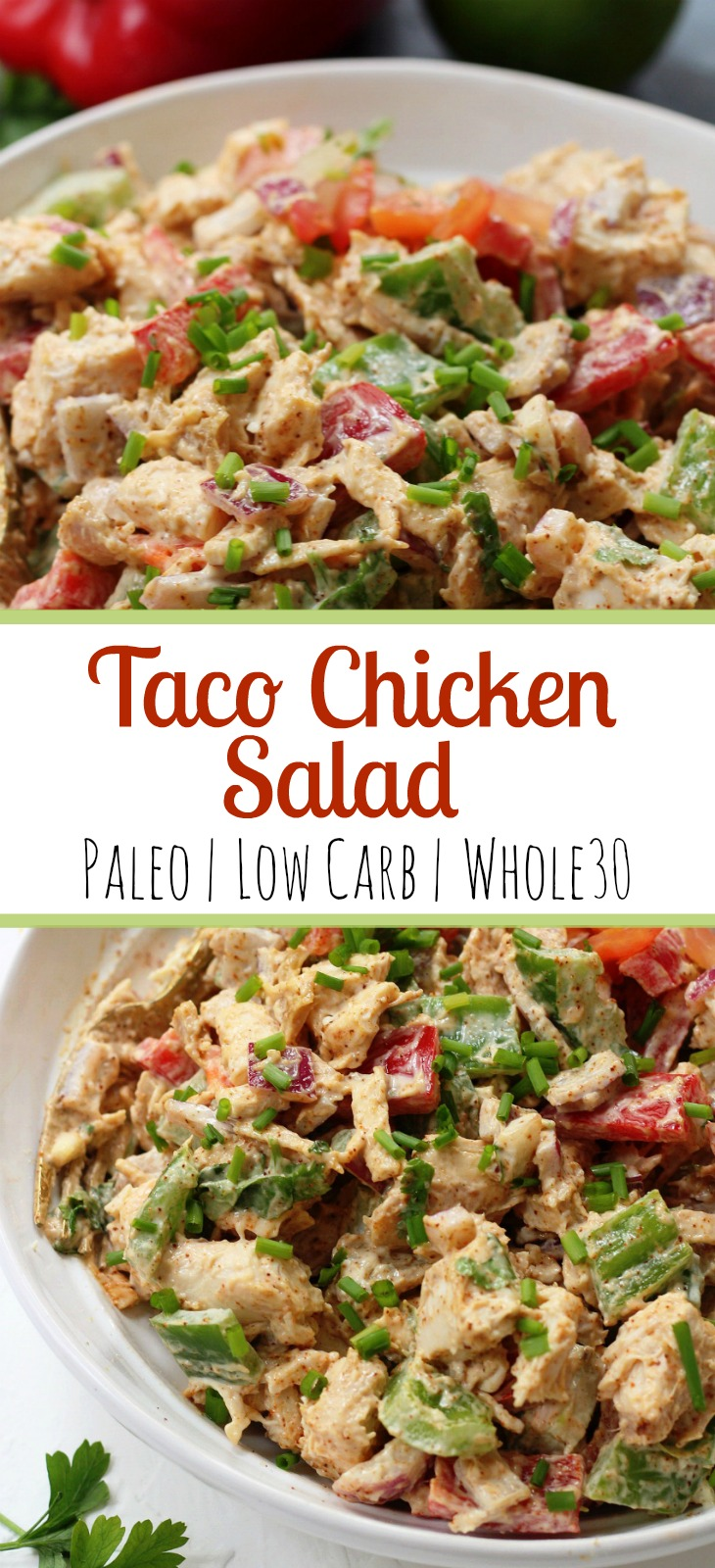 This easy taco chicken salad is a family friendly paleo recipe that only takes 15 minutes to whip together. No cooking needed! It's a great Whole30 salad for meal prep or Whole30 side dish for any event! #paleochickensalad #whole30chickensalad #whole30side