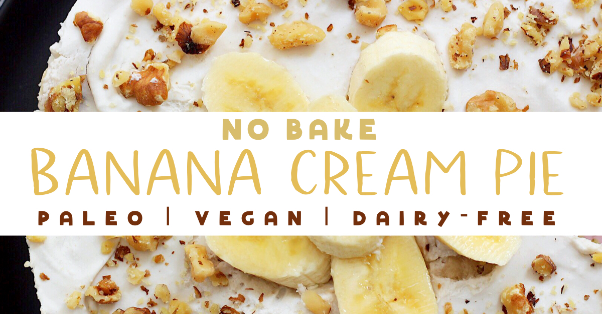 Paleo banana cream pie that you don't have to turn your oven on for! This easy banana cream pie is so simple and quick, it's the perfect treat for any occasion. It's also a vegan banana cream pie, so everyone can enjoy knowing this is a healthy dessert no matter how they eat! #paleobananacreampie #easybananacreampie #veganbananacreampie #healthypierecipes