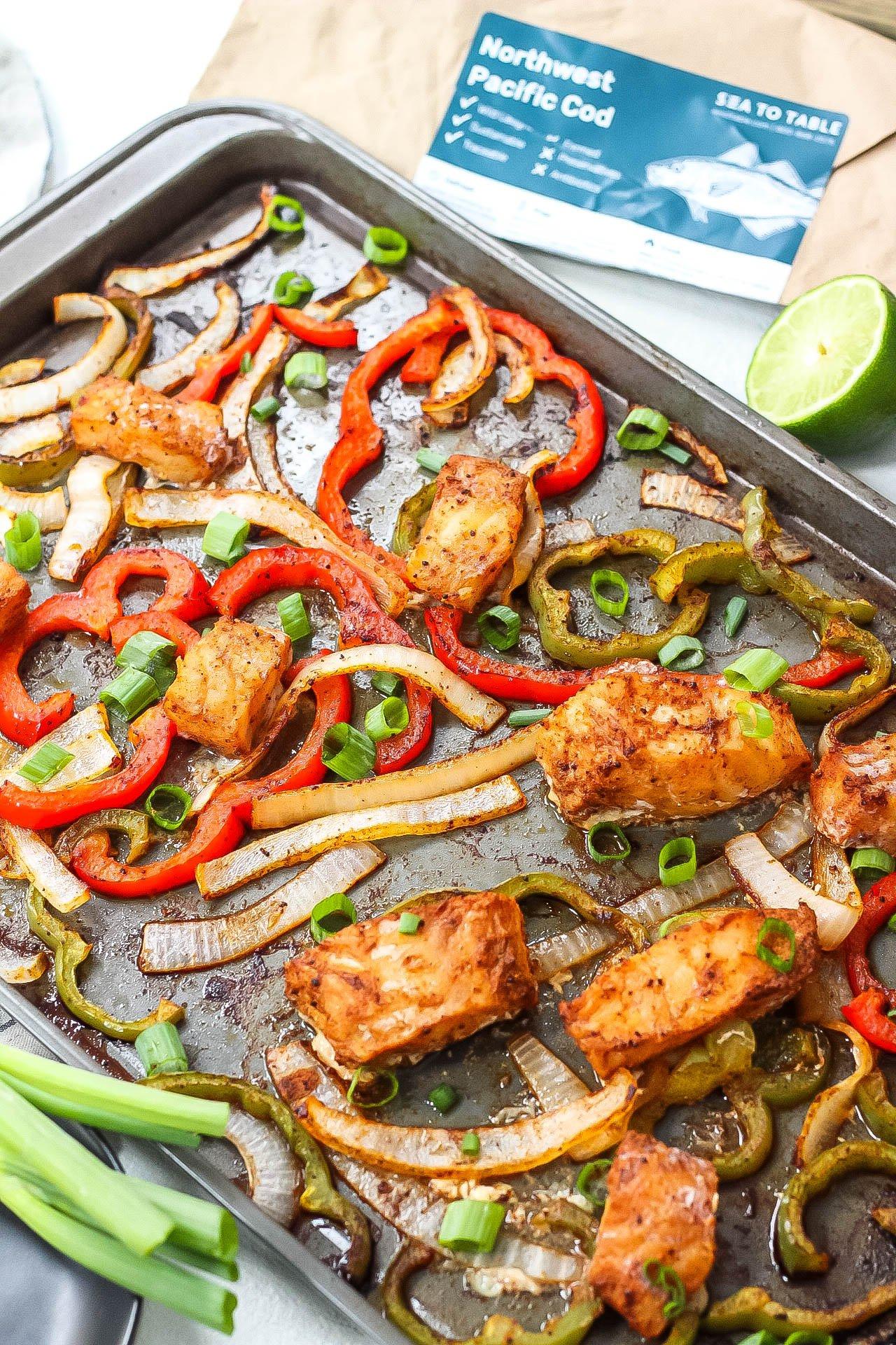 whole30 sheet pan fish fajitas
