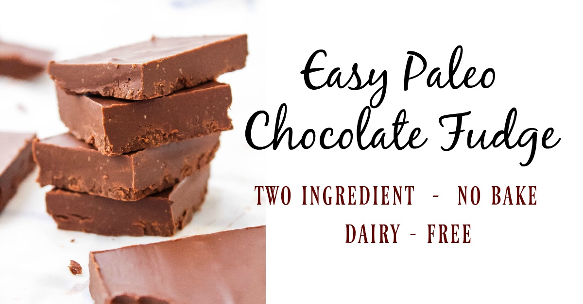This easy paleo chocolate fudge only needs 5 minutes of your time before you've got a sweet, healthy treat. It's a vegan chocolate fudge, so it's totally dairy-free! Add some maple syrup in for a maple chocolate fudge too! #paleochocolatefudge #veganchocolatefudge #2ingredientfudge