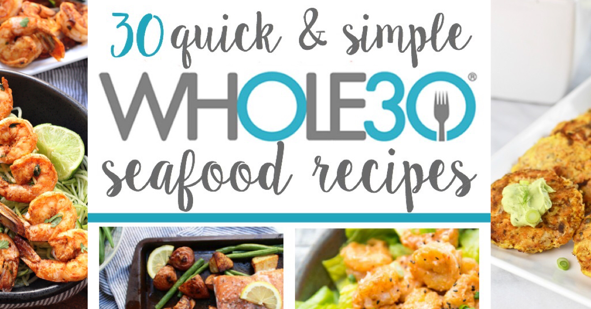 These 30 Whole30 seafood recipes are easy, family friendly Paleo fish recipes that will help you switch up your regular weeknight routine. If you're stuck in a boring chicken rut, this is for you! From Whole30 salmon recipes, shrimp, tuna to mahi-mahi, this list will add some much needed variety to your meal plan! #whole30seafood #paleoseafood #whole30fishrecipes #paleofishrecipes