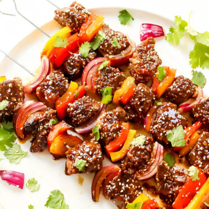 Asian Sesame Whole30 Steak Kabobs (Paleo, Low Carb, GF)