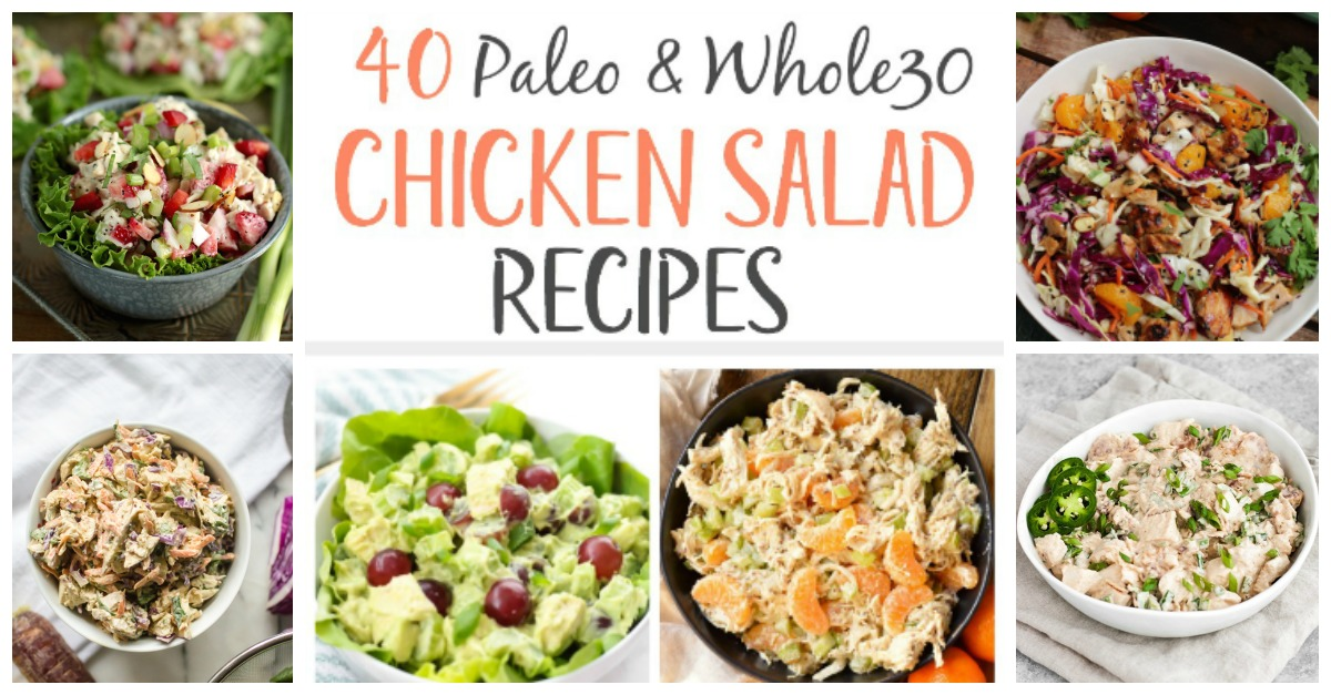 40 Whole30 and Paleo chicken salad recipes to inspire you to break out of your Paleo chicken recipe rut! You're sure to find a Whole30 chicken salad recipe to help make easy meal prep, quick clean up, and will be a family friendly healthy recipe. These are all low carb and simple too! #paleochickensaladrecipes #paleochickensalad #whole30saladrecipes #whole30chickensalad via @paleobailey