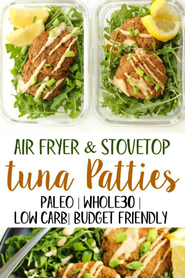 These Whole30 air fryer tuna patties are Paleo, keto, and a great budget friendly meal. Tuna is often an emergency food we keep in our pantry, but this family friendly recipe changes totally changes that! With just a few cans of tuna and some simple additions, you've got crispy patties for dinner or meal prep. #whole30airfryer #airfryer #paleoairfryer #paleotunapatties