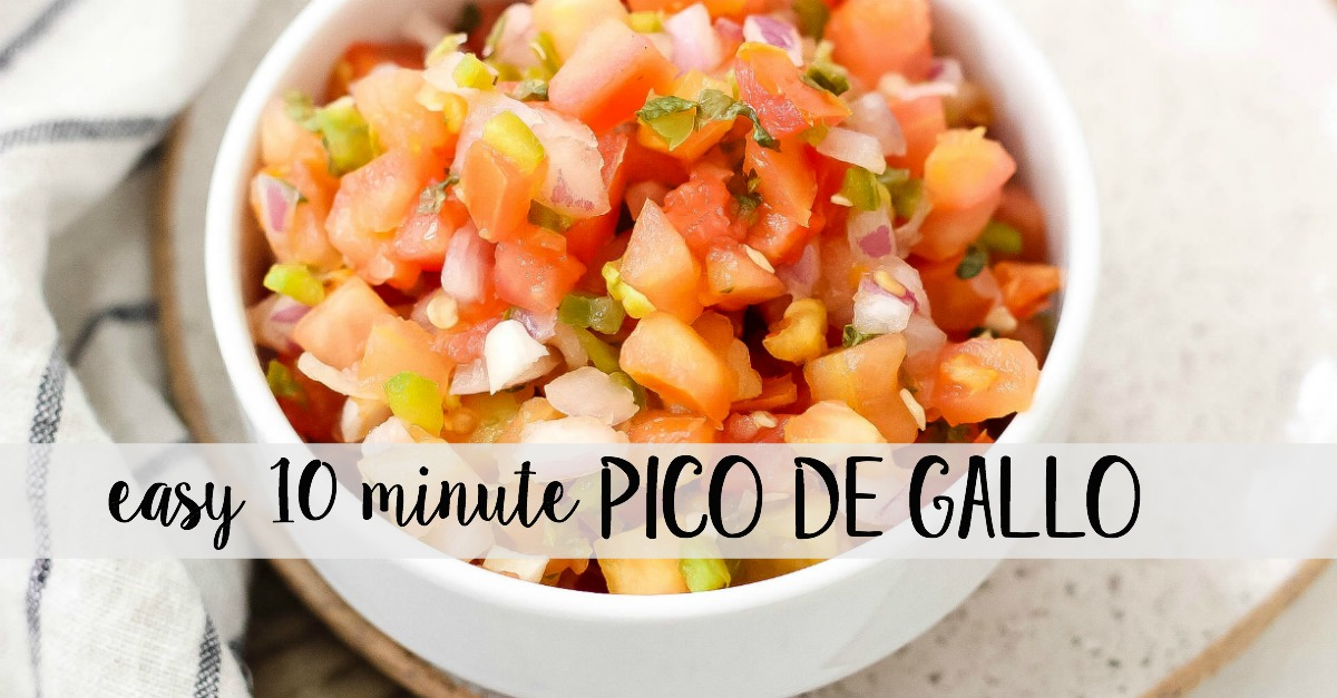 This easy Pico de Gallo is a fresh Whole30 and Paleo salsa option. It takes 10 minutes to have a delicious homemade pico for tacos, tortilla chips, salads, or fajitas! This Pico de Gallo is made with only a few simple ingredients like tomatoes, cilantro, onions, and lime juice! #whole30salsa #whole30pico #paleosalsa #picodegallo