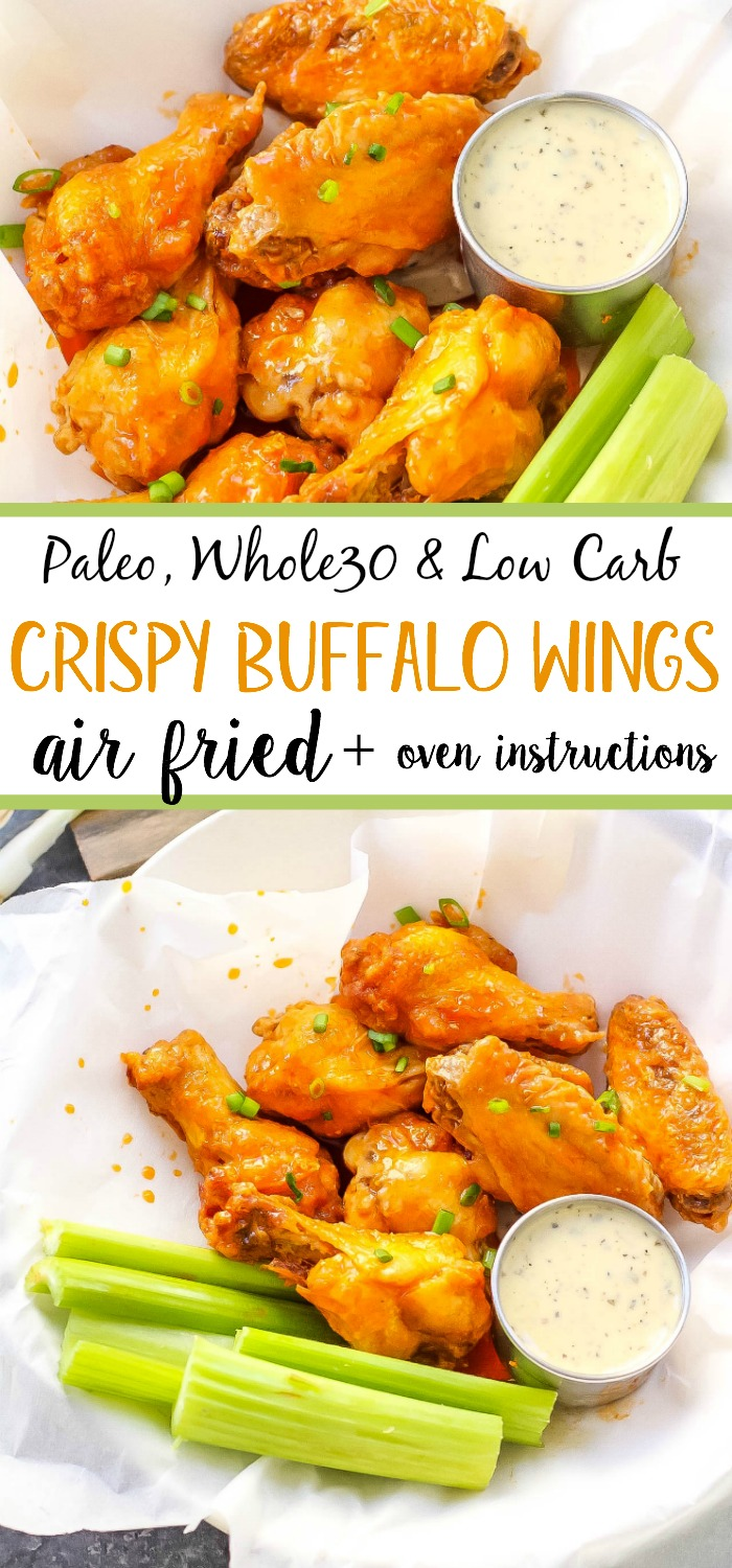 Healthy, low carb buffalo wings in the air fryer! This paleo air fryer chicken wing recipe is Whole30 and doesn't leave you any dishes to wash! It's a paleo family friendly option that you can make in the oven too! #whole30airfryer #airfryerwings #airfryerpaleo #airfryerketo