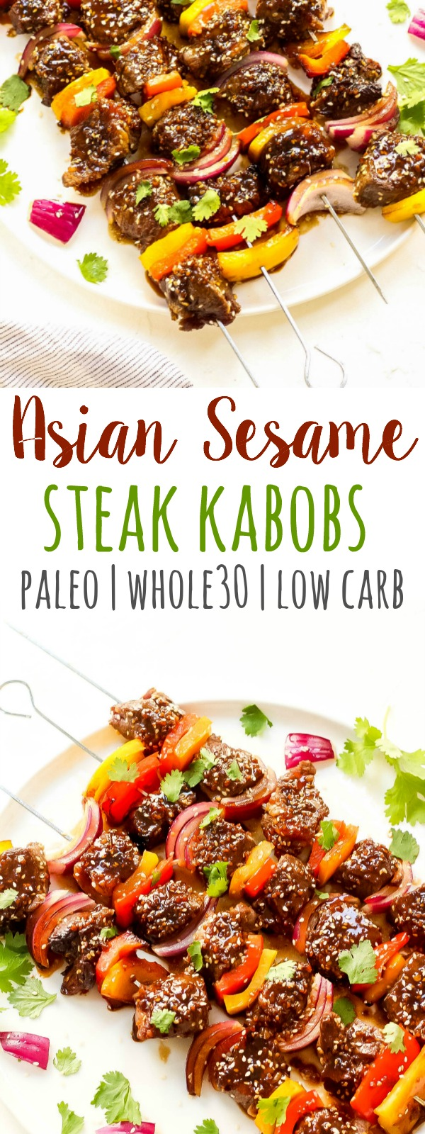 These Asian sesame Whole30 steak kabobs are marinaded in a quick and easy Whole30 and Paleo marinade that make the grilled steak kabobs really come to life! It's a simple Whole30 steak kabob recipe that anyone can whip up, and it's even easier to grill. #whole30steak #paleosteak #whole30grilling #ketosteak