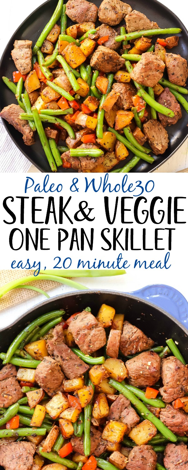 This easy Whole30 steak skillet is full of flavor and healthy veggies. It's a new favorite Paleo one pan meal around here that only takes 20 minutes! Making everything in one skillet is my go-to for quick meal prepping or making a clean eating and family friendly weeknight dinner. #whole30beefrecipes #whole30onepan #paleoonepan #paleobeefrecipes