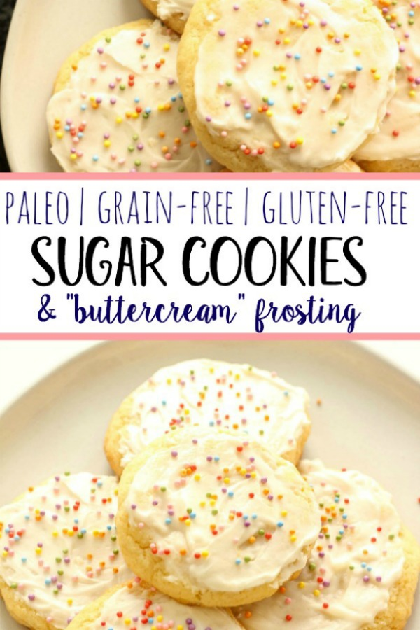 These chewy and soft Paleo sugar cookies are gluten free, dairy free and so chewy and delicious! With these clean, better-for-you ingredients, you won't even know they're grain free. They're perfect for your next party, cookie swap, or just a healthier treat option! #paleosugarcookies #grainfreesugarcookies #grainfreedessert