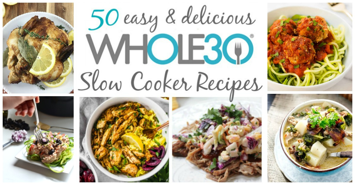 On this list of the best 50 Whole30 slow cooker recipes, you're sure to find a new favorite family dinner or easy recipe for meal prepping. They're all Paleo, dairy free, gluten free and fuss free! That's what makes the slow cooker so great! Quick clean up, and easy delicious meals #whole30slowcooker #paleoslowcooker #whole30slowcookerrecipes