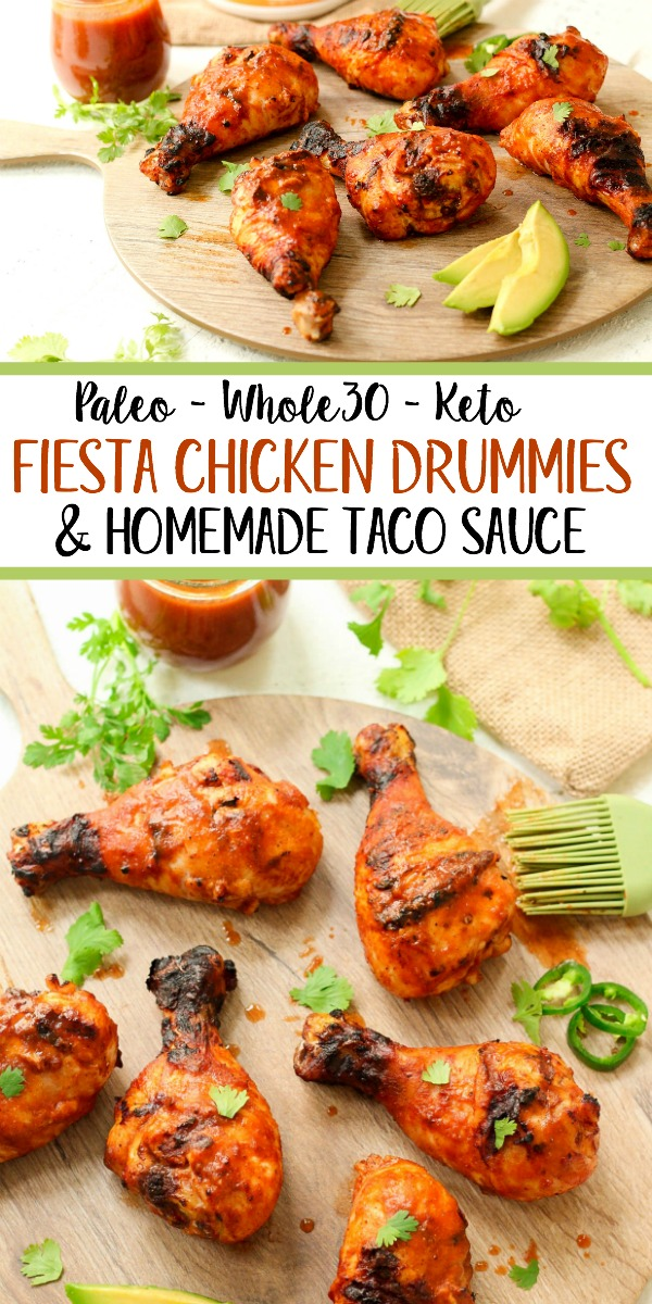 These fiesta Whole30 chicken drumsticks are marinaded in the best ever homemade Paleo and Whole30 taco sauce. The homemade taco sauce is only a few simple ingredients, and when you throw the chicken drumsticks on the grill, you have an easy dinner or protein for meal prep in under 30 minutes! Even if you want to use the oven baked method, these are the best tasting marinaded drumsticks! #whole30chickendrumsticks #homemadetacosauce #paleochickenrecipes #whole30tacosauce