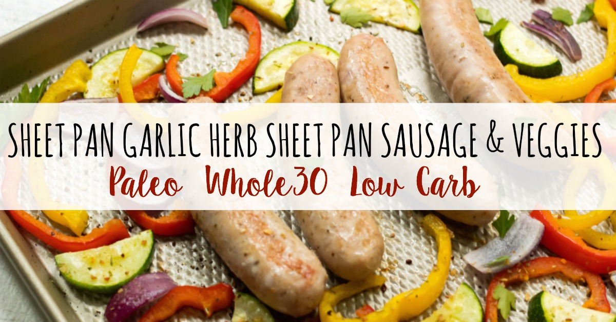 This Whole30 sheet pan sausage recipe is the perfect healthy weeknight dinner option that's family friendly, and clean up free! Or it makes an easy Paleo, Whole30 or keto meal prep recipe to keep your meal plan simple. Using chicken sausage, lots of veggies and delicious seasonings, dinner will be done in 30 minutes! #whole30sheetpan #whole30sausage #paleosheetpan #ketosheetpan