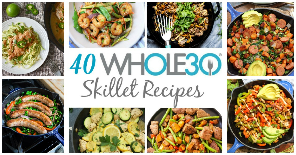Skillets are my go-to for easy Whole30 meals. These 40 Whole30 skillet recipes are so helpful when making meal prep as painless as possible, or for making a weeknight dinner quick and easy. Not only are these Whole30, but they're Paleo, gluten-free and many of them are low carb skillet recipes as well! #whole30recipes #whole30skillet #paleorecipes #paleoskilletrecipes