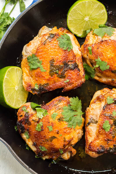 These Whole30 crispy cilantro lime chicken thighs are so delicious, and so easy to make. The skin gets perfectly crispy using this simple cooking method. They're awesome for meal prepping, or for an easy weeknight dinner. Not only are these Whole30 chicken thighs, but they're Paleo and low carb too!