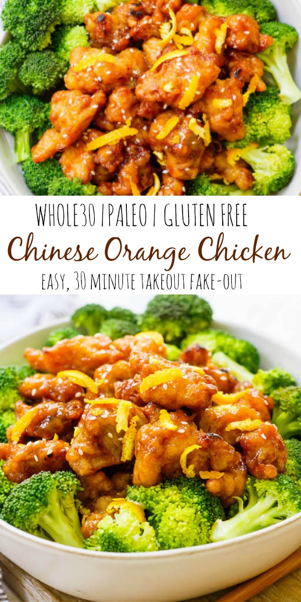 This easy Whole30 Chinese orange chicken is the best takeout fake-out ever. Sometimes you just need some orange chicken in your life, and this version is much healthier and there's no delivery fee! It's also a Paleo orange chicken recipe, which makes it gluten free and made from real ingredients, so you can skip the MSG! #whole30orangechicken #paleoorangechicken #whole30chickenrecipes