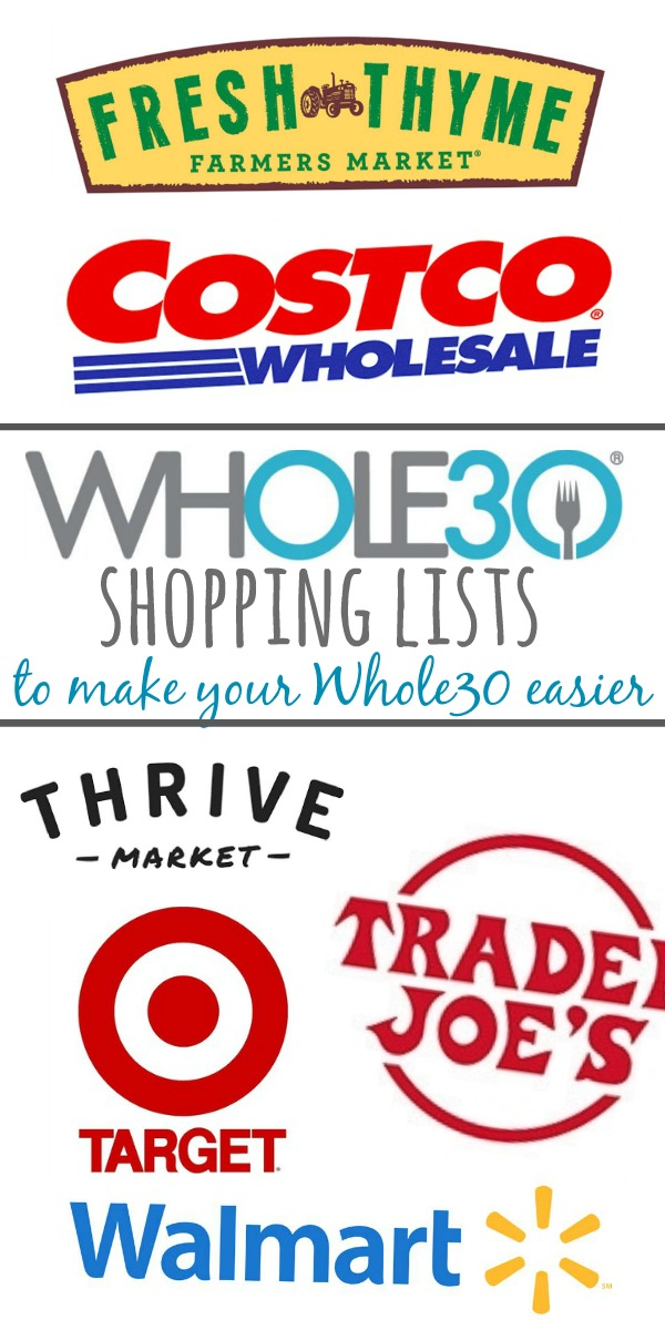 These Whole30 grocery lists will help you find everything you're looking for and everything that's compliant while shopping at these major grocery chains. The Whole30 shopping lists include what's Whole30 at Target, Trader Joe's, Walmart, and Costco.