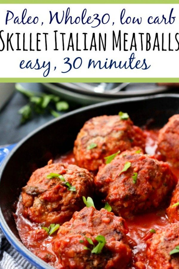 These Whole30 skillet meatballs are cooked up in one pan on the stovetop with the marinara, no oven needed! It's a quick and easy weeknight dinner or meal prep recipe that covers all your dietary bases, Whole30, Paleo, low carb, dairy-free, you name it. Just some good, flavorful Italian style meatballs. #whole30meatballs #whole30onepan #paleomeatballs